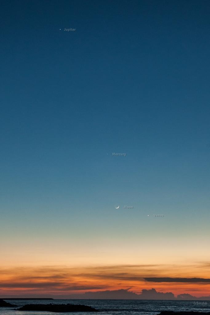 Jupiter, Mercury, moon and Venus after sunset at Jerudong beach, Brunei, on the island of Borneo. Photo by Zefri Besar.