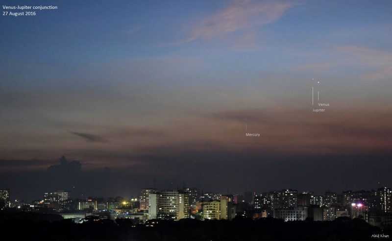 Here's an awesome shot of Saturday evening's Venus and Jupiter conjunction, from Abid Khan in Bangladesh.