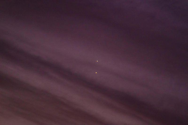 Venus and Jupiter on August 27, as captured by Greg Hogan in Kathleen, Georgia.