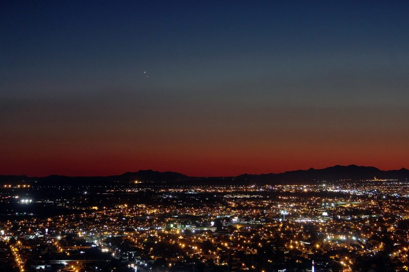 Venus and Jupiter were so bright on August 27 - and so noticeably close together - that you could see them above most cities. Here they are above Hermosillo, Mexico. Photo by Hector Barrios.