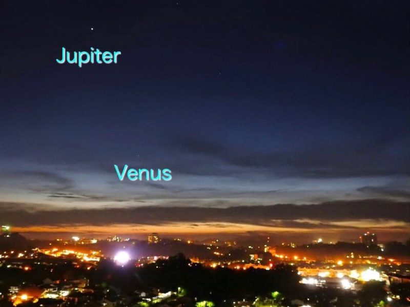 Jenney Disimon caught the sky's two brightest planets, Jupiter and Venus, on August 3, 2016. No sign of the moon from her location - Sabah, North Borneo - but the moon would have been very young and hard to catch from there.