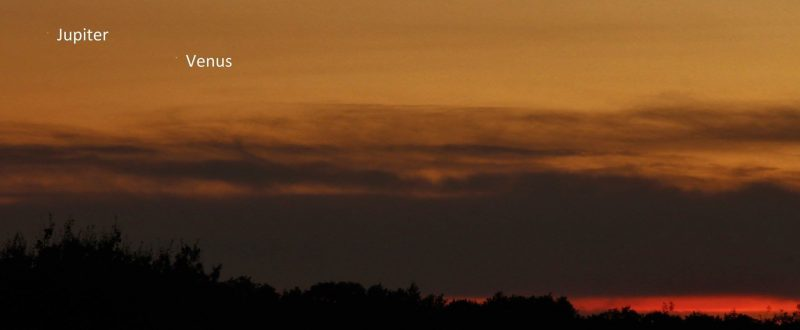 Venus and Jupiter will be toughest to see from Earth's most northerly latitudes. But it's still possible. Here they are on August 26 from Steve Pond in England.