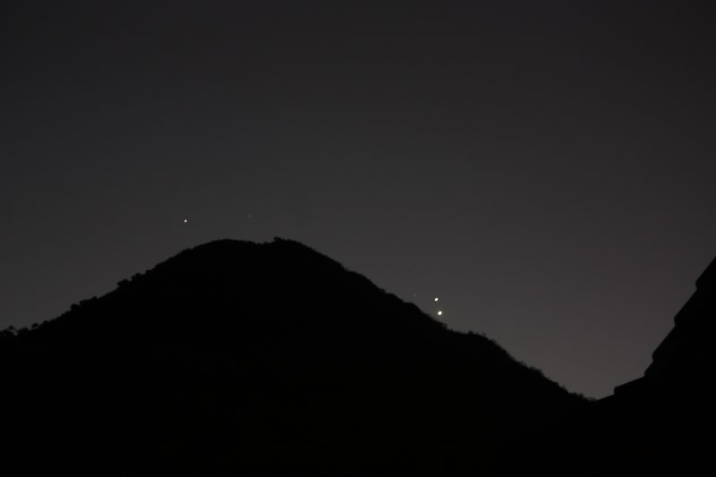 Venus and Jupiter on the night of the conjunction - August 27, 2016 - as captured by Andre Smith in South Africa.  The fainter dot to one side is Mercury.