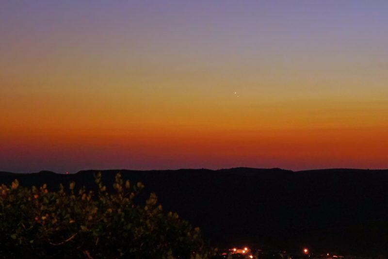 Venus and Jupiter over Oceanside, California from Dan Wyman.