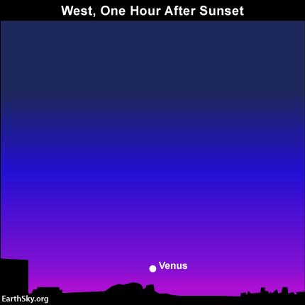 Look for Venus, the brightest of all planets, low in the west after sunset.