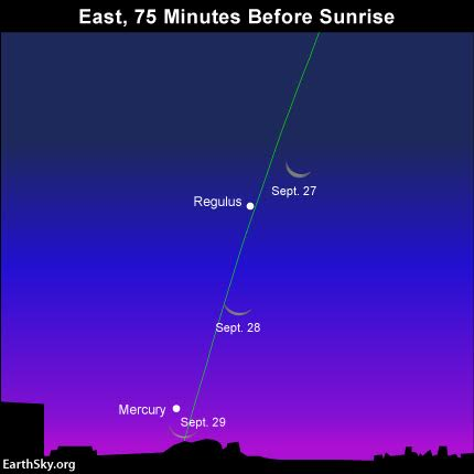 The bow of the waning crescent moon points toward Mercury's place over the sunrise point on the horizon. Mercury is more easily viewed in the Northern Hemisphere.