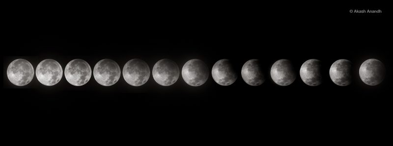 Akash Anandh in Singapore caught the penumbral lunar eclipse as it progressed.