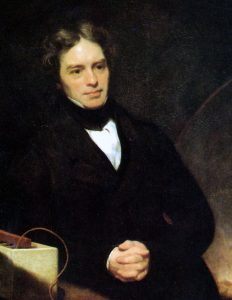 Michael Faraday painted by Thomas Philips, 1842, via Wikimedia Commons.