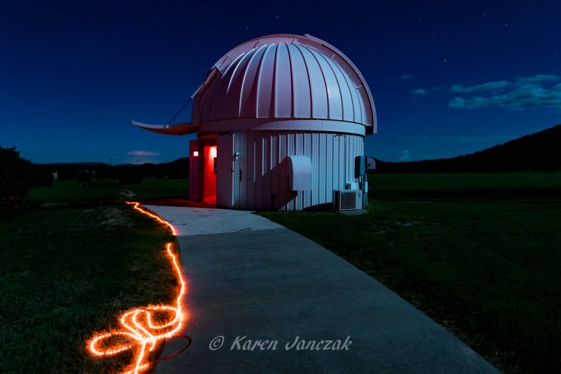 Just before the start of a star party, at McDonald Observatory in West Texas. Photo by Karen Janczak.
