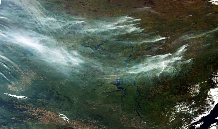 Siberia blanketed in smoke from wildfires, September 20, 2016, 10:10 a.m. local time. Contains Copernicus Sentinel satellite data, processed by ESA.
