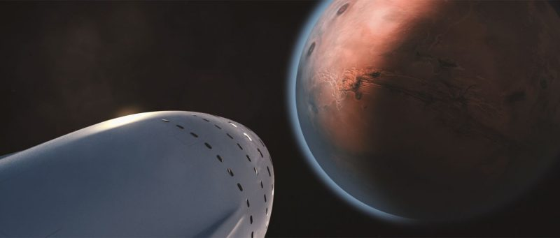 Imagine the excitement aboard the ship as Mars looms ahead. Image via SpaceX.