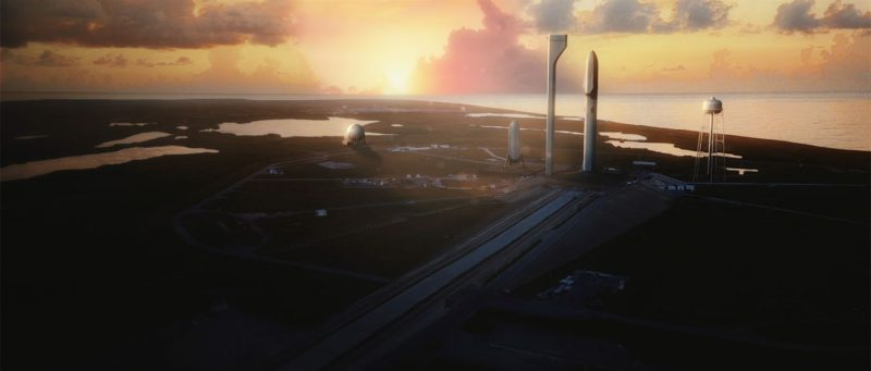 Artist's concept of Space X Interplanetary Transport System at Cape Canaveral, ready for launch.  Image via SpaceX.