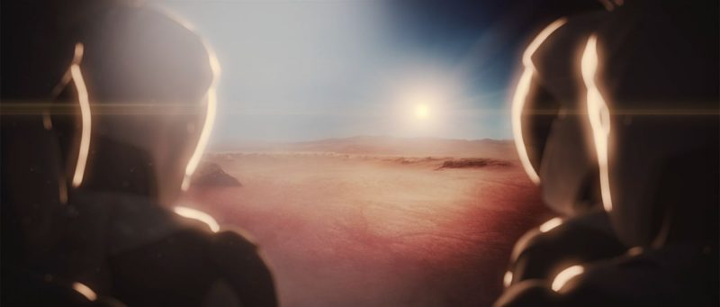 Artist's concept of future Mars colonists facing their new world. Image via SpaceX.