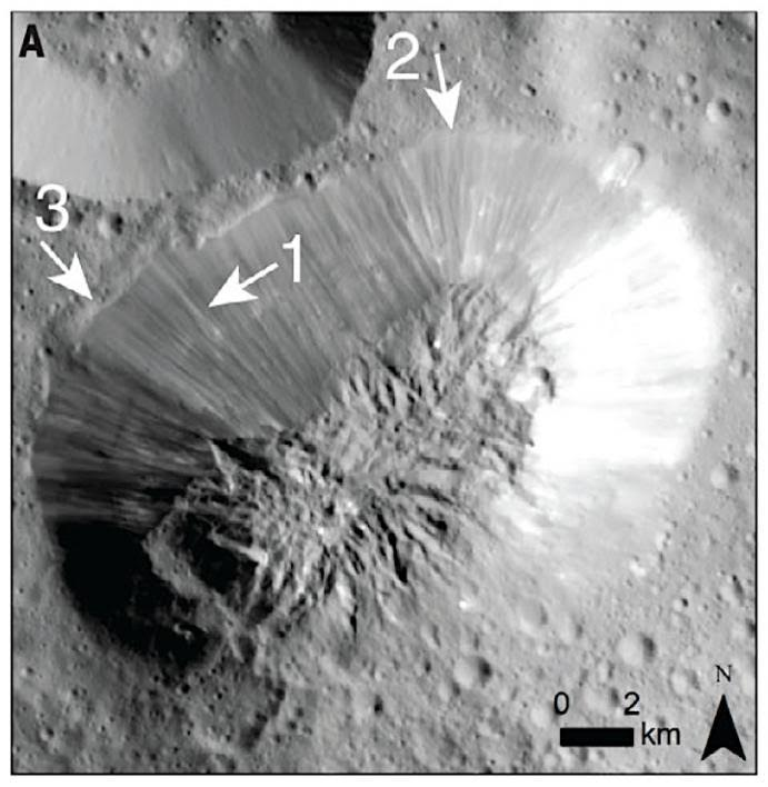 Ahuna Mons on Ceres from overhead.