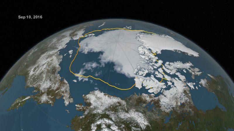 2016's summertime Arctic sea ice minimum, in contrast to the average. Image via NASA/NSIDC.