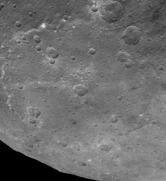 Edge of Ceres, showing Kerwan Crater, via Dawn spacecraft.