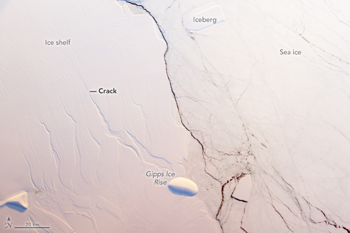 Crack in the Larsen C ice shelf in Antarctica, seen on August 22, 2016 via NASA's Terra satellite.  Image via NASA Earth Observatory.