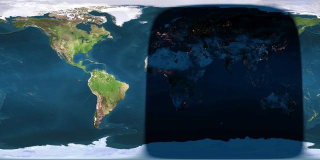 Day and night sides of Earth at the instant of full moon (2016 September 19 at 19:05 Universal Time) via Earth and Moon  Viewer.