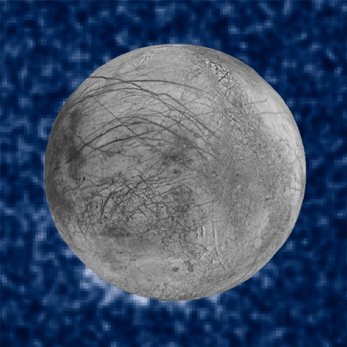 This composite image shows suspected plumes of water vapor erupting at the 7 o'clock position off the limb of Jupiter's moon Europa. The plumes, photographed by NASA's Hubble's Space Telescope Imaging Spectrograph, were seen in silhouette as the moon passed in front of Jupiter. Hubble's ultraviolet sensitivity allowed for the features, rising over 100 miles above Europa's icy surface, to be discerned. The water is believed to come from a subsurface ocean on Europa. The Hubble data were taken on January 26, 2014. Image via NASA.