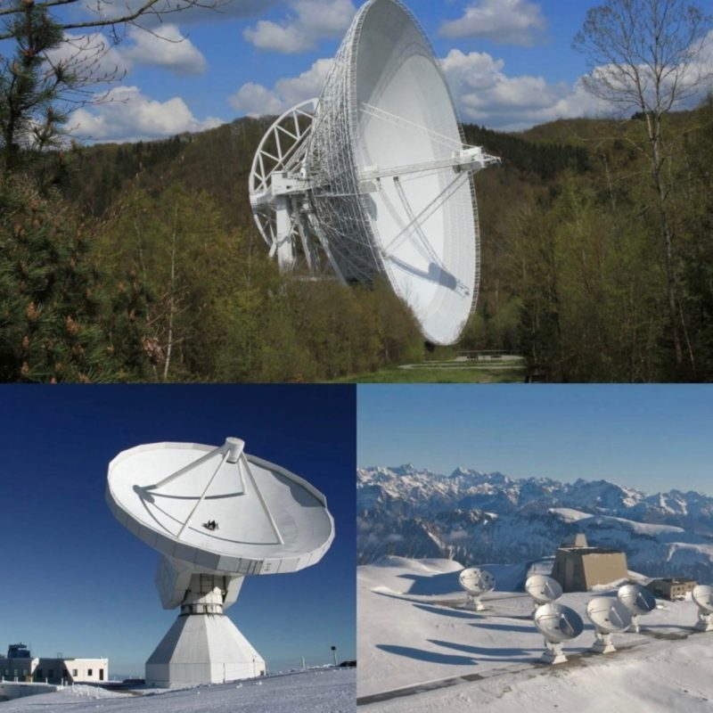 Three telescopes participating in the Global Millimetre VLBI Array (GMVA): MPIfR's Effelsberg 100m (above), IRAM's Pico Veleta 30m (lower left) and Plateau de Bure 15m telescopes (lower right). © IRAM (Pico Veleta & Plateau de Bure); Norbert Junkes (Effelsberg & compilation)