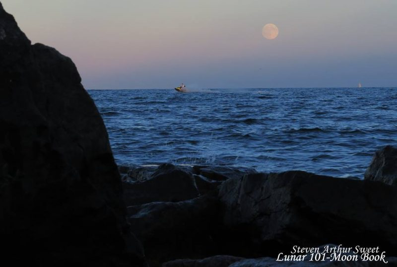 Harvest Moon from Port Credit, Ontario. Image via Lunar 101-Moon  Book