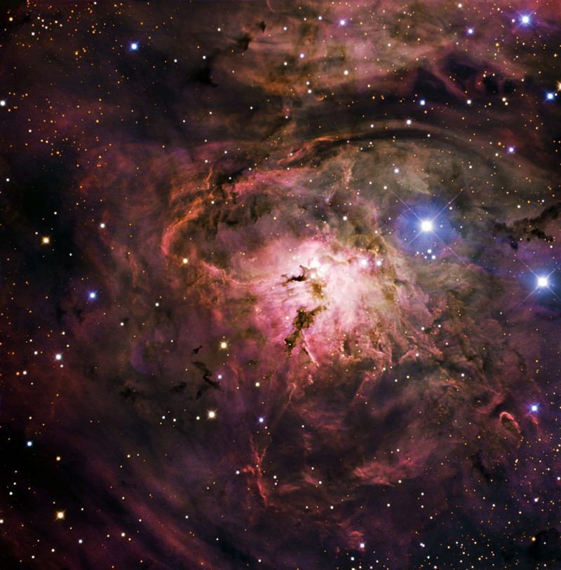 Lagoon Nebula. This image combines observations performed through three different filters (B, V, R) with the 1.5-metre Danish telescope at the ESO La Silla Observatory in Chile. Via ESO.