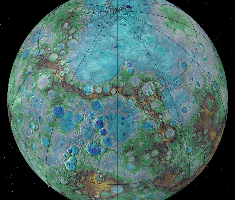 It's small, it's hot, and it's shrinking. Surprising new NASA-funded research suggests that Mercury is contracting even today, joining Earth as a tectonically active planet. Image via NASA/JHUAPL/Carnegie Institution of Washington/USGS/Arizona State University