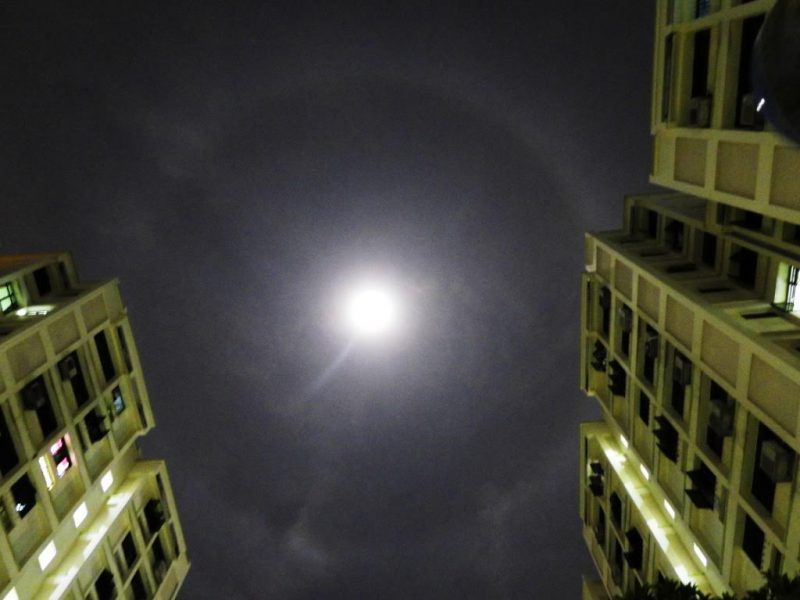 A. Kannan in Singapore caught the Harvest Moon with a halo around it.