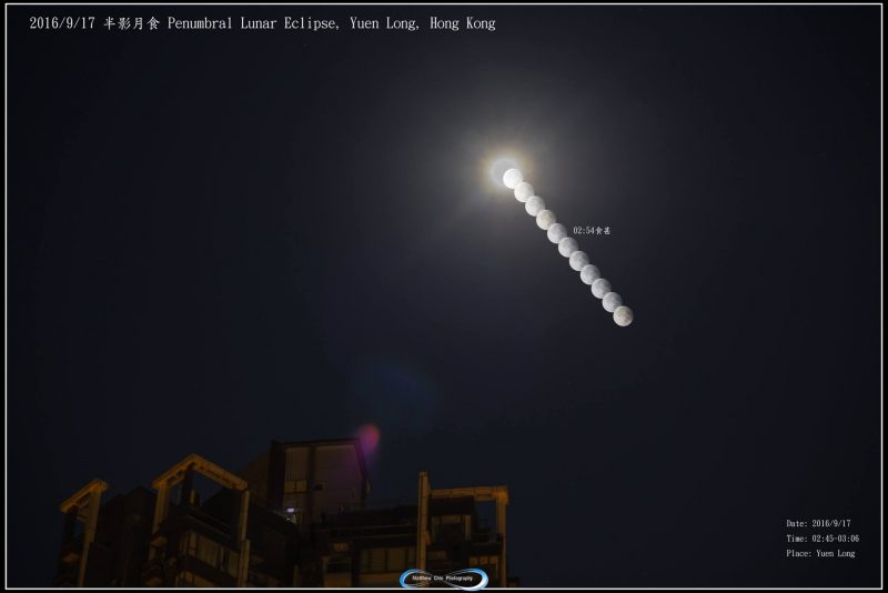 Matthew Chin in Hong Kong contributed this composite the Harvest Moon penumbral eclipse. A penumbral eclipse is subtle, but, as you can see here, the moon - in shadow - loses brightness.