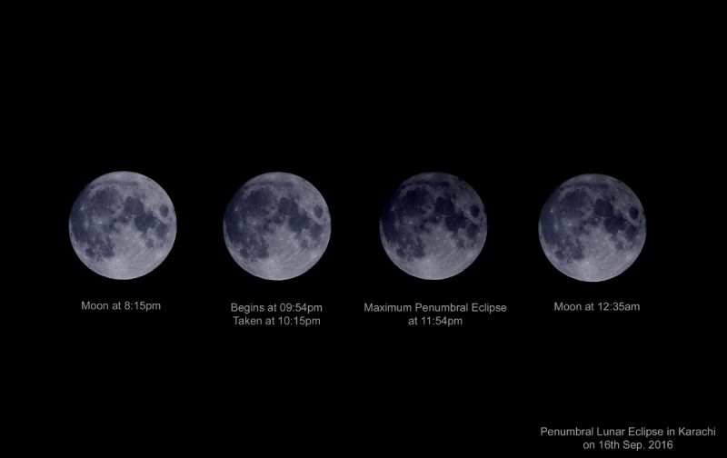 Composite of the penumbral eclipse from Farman Shams in Karachi, Pakistan.