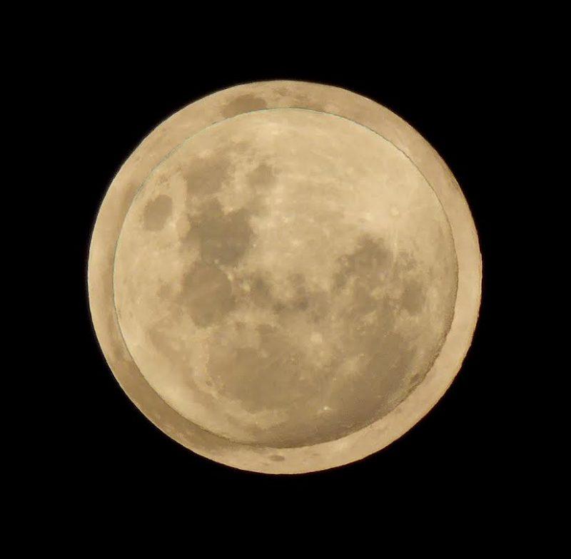 SMicro-moon superimposed on supermoon.