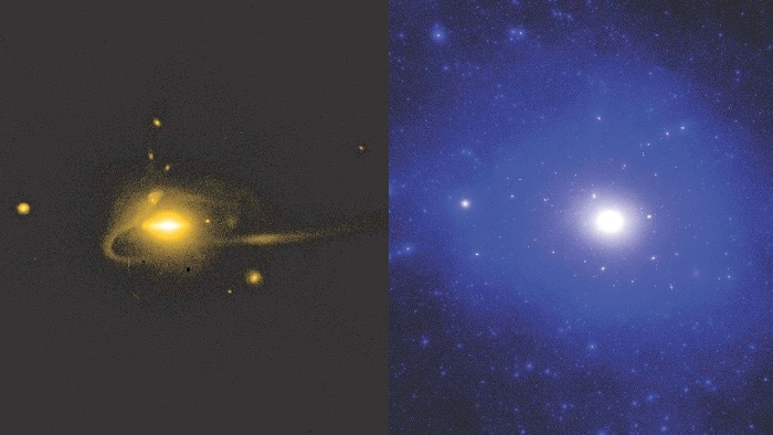 Andrew Wetzel's simulation shows stars in the Milky Way-like galaxy on the left and the same region's dark matter on the right. Image is provided courtesy of Andrew Wetzel. Via Carnegie Science.