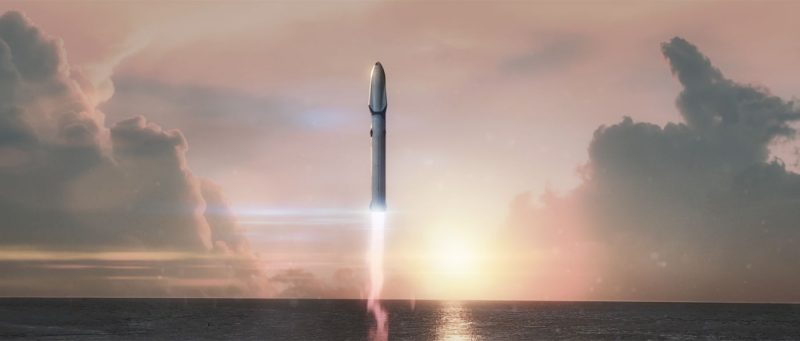 Lift off!  One hundred Mars wayfarers would be aboard. Image via SpaceX.