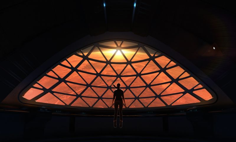 What the view of Mars might look like from inside the Interplanetary Transport System. Image via SpaceX.