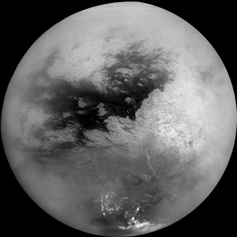 This full-globe image of Titan also comes from Cassini, taken soon after the craft began orbiting Saturn in 2004. Image via NASA/JPL PhotoJournal.