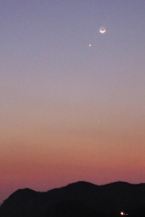 Moon and Venus, with Jupiter below, on September 3 by Peter Lowenstein in Mutare, Zimbabwe