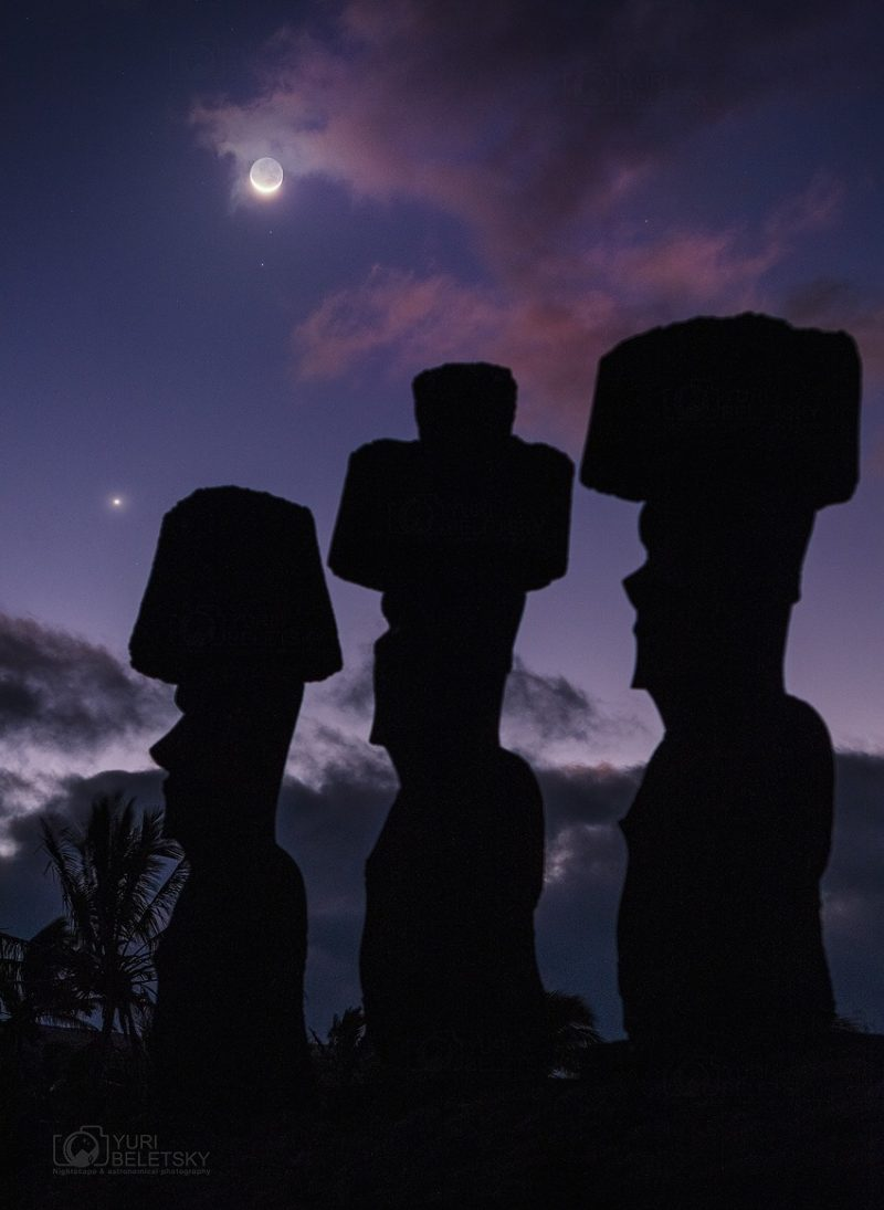 3 Easter Island monuments against a purple evening sky.