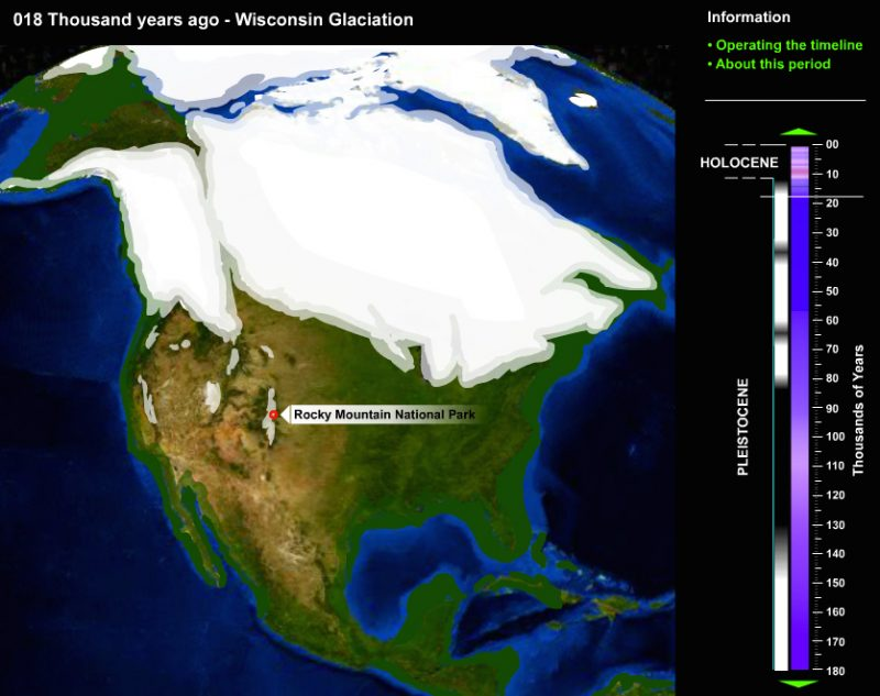 A map showing ice sheet coverage at its greatest extent during the last ice age. Captured from an interactive image, courtesy of the National Park Service. https://www.nps.gov/features/romo/feat0001/BasicsIceAges.html
