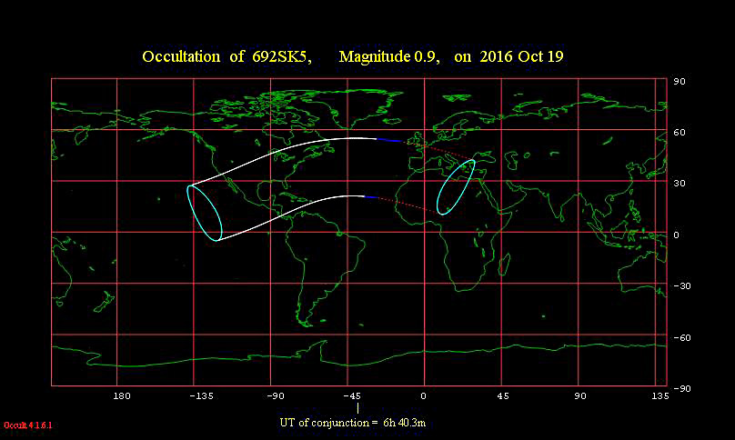 This worldwide map shows where the lunar occultation of Aldebaran is visible worldwide. Every place in between the solid white lines has the occultation taking place during the nighttime hours on October 18-19. Map via IOTA (international Occultation Timing Association).