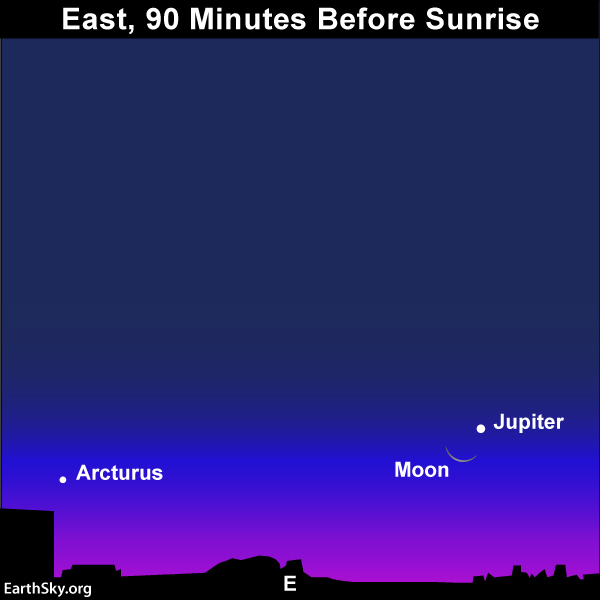 Arcturus is one of the sky's brightest stars, but Jupiter and the moon will be brighter. This is the view on October 28, 2016.
