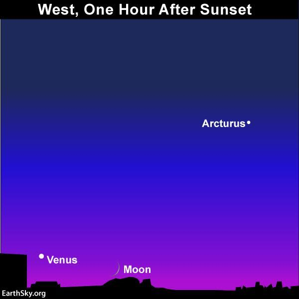 Moon and Venus on October 2, 2016. Look as soon as the sun sets! They'll soon follow the sun below the western horizon.