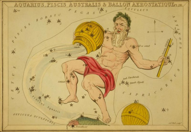 The constellation Aquarius. Image via Old Book Art Image Gallery.