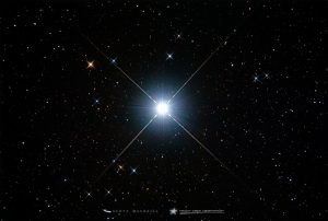 Bright star with colors in its diffraction spikes.