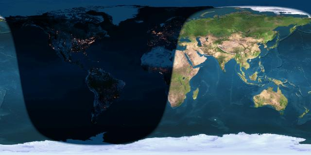 Day and night sides of Earth at the instant of the October 2016 full moon (2016 October 16 at 4:23 Universal Time).