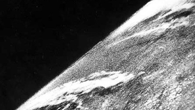 First photo of Earth from space, October 24, 1946, via White Sands Missile Range/Applied Physics Laboratory