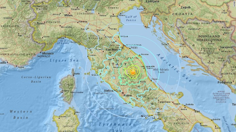 October 30, 2016 earthquake in Italy via USGS