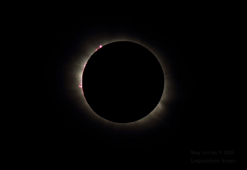 During a Total Solar Eclipse, solar prominences might be visible (only during totality) using binoculars. This spectacular image was captured from Norway during the March, 2015 Solar Eclipse. Credit: Wang Letian (Used with permission).