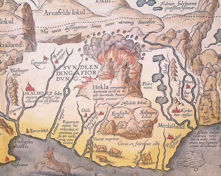 A 1585 map of Iceland created by Abraham Ortelius. Image via Wikimedia Commons.