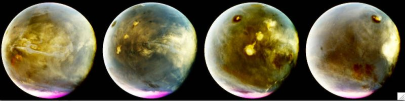 MAVEN's Imaging UltraViolet Spectrograph obtained these images of rapid cloud formation on Mars on July 9-10, 2016. Credits: NASA/MAVEN/University of Colorado