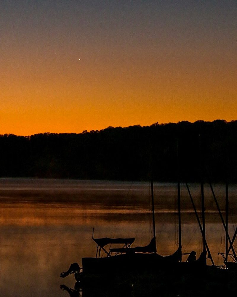 Mercury and Jupiter on October 11, 2016 - the day of their conjunction - as seen from Lake Nockamixon State Park by Karl Diefenderfer.